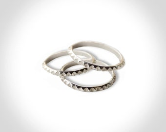 SET OF 3 Pyramid Stud Stacking Ring Sterling