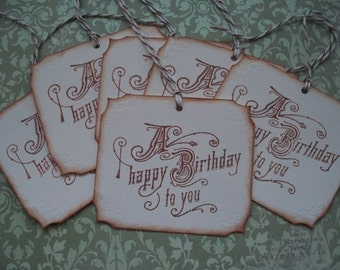 Birthday gift tags handstamped vintage inspired Happy Birthday tags vintage style birthday wishes - set of 6