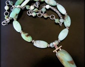 COOL BREEZE ~ Mint Green Chrysoprase, Sterling Silver Necklace