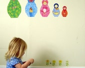 Matryoshka, ( Babushka) doll wall stickers - Wall stickers fabric reusable decals
