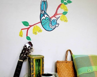 Tui bird on branch with kowhai flowers and leaves wall decal – Medium | Kiwiana wall decal