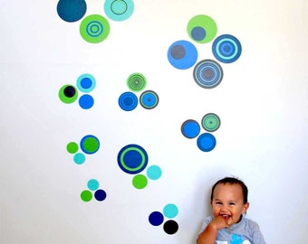 Boys own dots reusable fabric wall decal