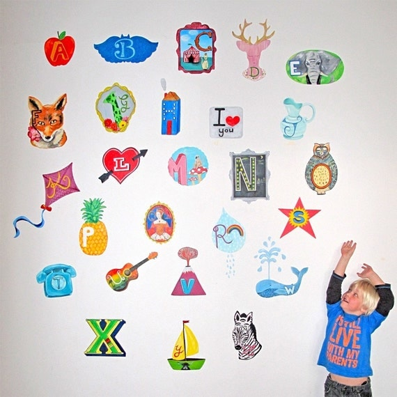Alphabet wall decal LARGE – fabric wall stickers
