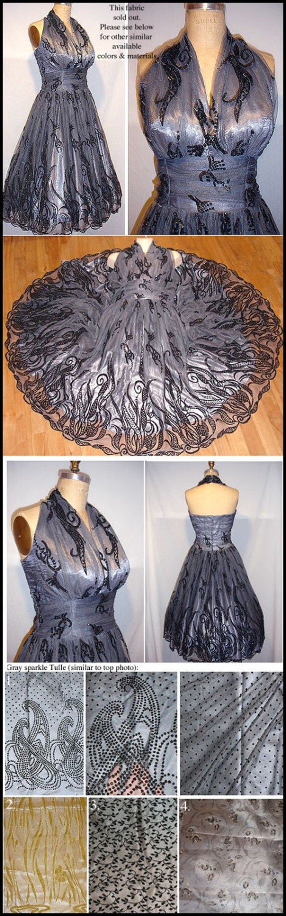 Plus size: GORGEOUS 40s 50s style HALTER Dress Authentic vintage style Many fabrics to choose from... So Flattering