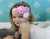 Vintage Rosette Baby Flower Headband - Newborn Baby Headband - Pink, White, Lavender Toddler/Girl Headband Fascinator Photo Prop Pageant