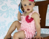 Pink Baby Petti Romper - Lace Baby Ruffle Romper with Hot Pink Chiffon Heart Baby Headband Valentine's Day