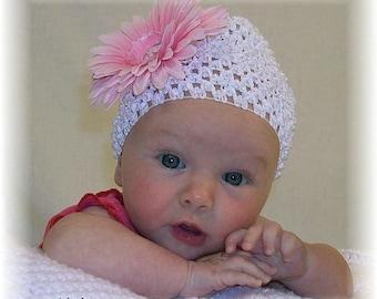 White Baby Crochet Hat with Pink Gerbera Daisy and Rhinestone
