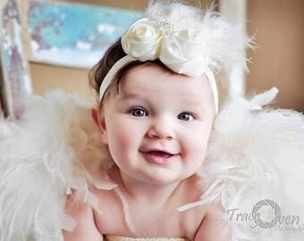 Vintage Cream Rosette Baby Headband -  Ivory Newborn Flower Heaband - White Toddler/Girl's Feather Fascinator Headband Photo Prop or Baptism