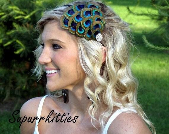 Peacock Feather Headband - Lady's Feather Headband - Peacock Eye Feather Fascintor with Vintage-style Rhinestone on Satin Headband