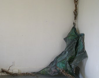 abstract wall sculpture green black canvas wood found wire