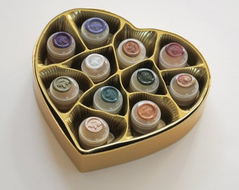 """Natural Solid Perfume """"Coeur de Parfum"""" Luxury Box Set - MADE to ORDER - Heart shaped gift box set of delicious solid botanical perfumes"""