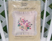 Quilted Basket of Violets Pillow Counted Cross Stitch Kit