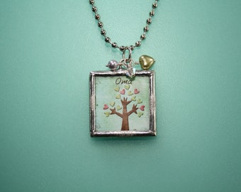 "For OMA - Hand Soldered Glass Charm Necklace - ""Love Always"" bird necklace w/ tree - Mothers Day - reversible - ME Designs"
