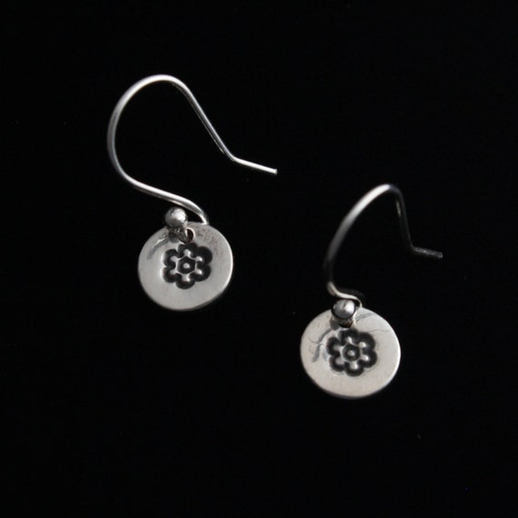 Fine Silver Earrings - Dainty circles with flowers - Petite - ME Designs