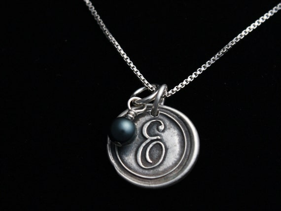 Antiqued Wax Seal Necklace - Custom Initial - Fine Silver Jewelry w/Swarovski Pearl - Mothers Day - Monogram Charms - ME Designs