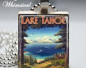Lake Tahoe Necklace, vintage travel poster, Scrabble Tile Pendant Jewelry