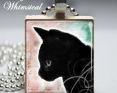 BLACK CAT Necklace, for her, gifts under 10 dollars, Scrabble jewelry