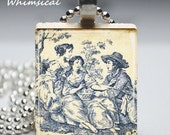 BLUE TOILE french country Necklace - Scrabble Tile Pendant Jewelry - prettywhimsical