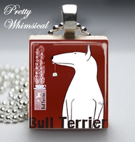 Bull Terrier Necklace, Vintage dog ad - Scrabble Tile Jewelry Pendant Charm