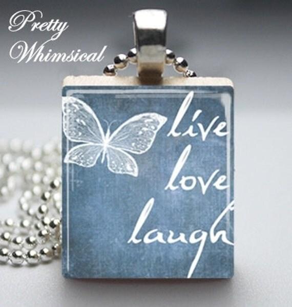 Live Love Laugh butterfly blue Scrabble Tile Pendant Jewelry