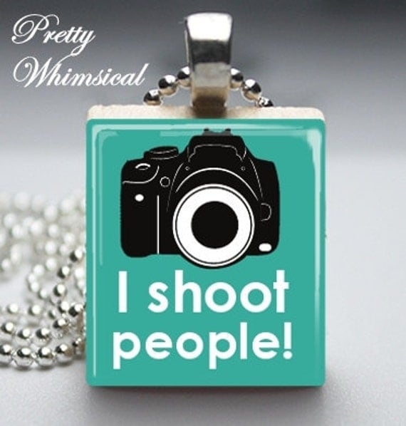 Photography Jewelry - I Shoot People photographer quote - Scrabble Tile Pendant