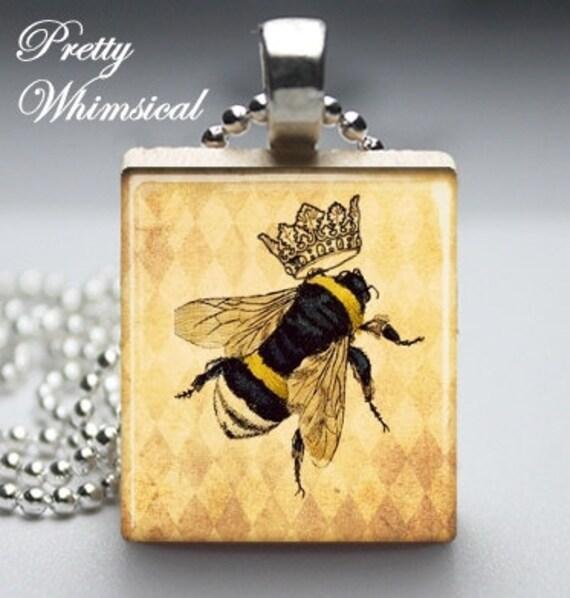 Scrabble Tile Jewelry - Queen Bee - Scrabble Tile Pendant