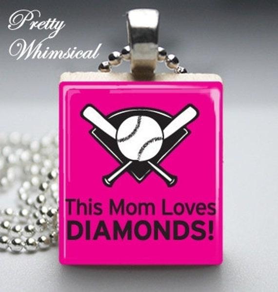 This Mom Loves Diamonds baseball softball - Scrabble Tile Pendant