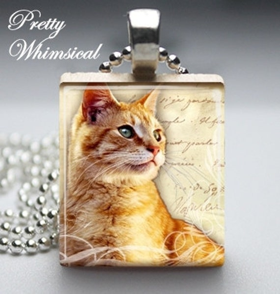 Black Friday / Cyber Monday FREE Shipping - CAT Lover yellow tabby tiger Scrabble Tile Pendant Jewelry