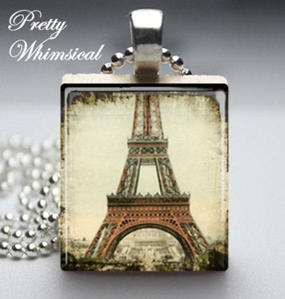 Vintage Eiffel Tower Scrabble Tile Pendant Jewelry