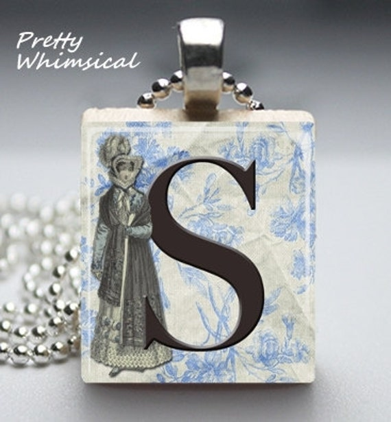 Scrabble Tile Jewelry - Regency Woman S Initial pendant - Scrabble Tile Pendant