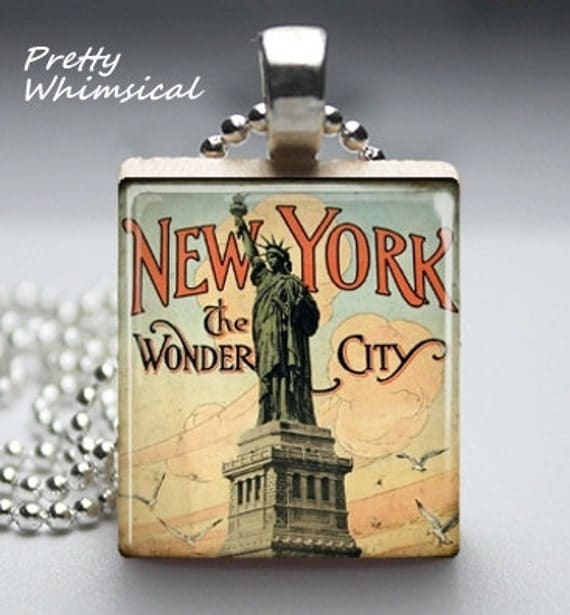 Scrabble Tile Jewelry - Statue Of Liberty New York - Scrabble Tile Pendant