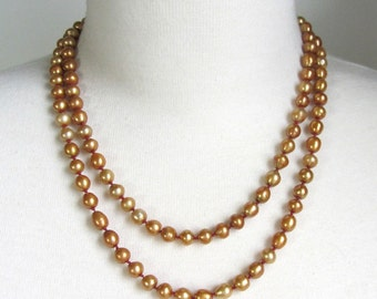 Golden Hand Knotted Pearl Necklace Opera Length - Bronze Freshwater Pearls - Bridal Jewelry