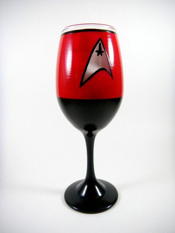 Fan art Star Trek Uniform Hand Painted Glass, You choose the color, Wine, Martini, Champagne, Pilsner