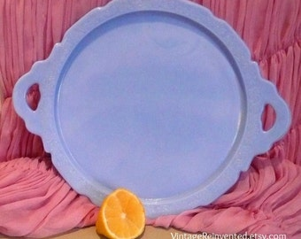 Vintage Platter Blue Milk Glass Platter Cake Platter Imperial Glass Platter