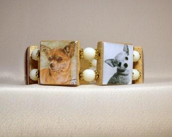 CHIHUAHUA Bracelet / Upcycled / SCRABBLE Handmade Jewelry / Dog Jewelry