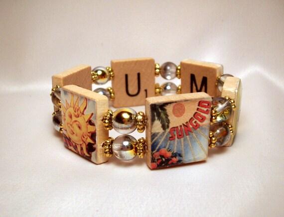 SUMMER JEWELRY / Bracelet / Sunny / Upcycled / Scrabble