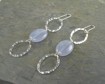 Blue Stone Hammered Silver Earrings Very Long Earring Sky Blu Gemstone Chalcedony Agate Earrings Light Holly Blue Periwinkle Gift For Her