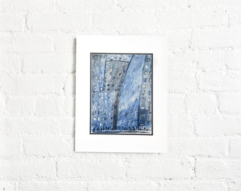 New York City Art - Cityscape, Manhattan, Skyscrapers, Mix Media, Original Illustration,Blue