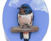 Barn Swallow Original Bird Sculpture of Polymer Clay on Wood Keepsake Box Bird Lovers Gift