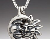 Sun and Moon Necklace - Silver Eclipse Pendant Eclipse Necklace Sun Jewelry Moon Jewelry Celestial Jewelry Celestial Necklace Silver Moon