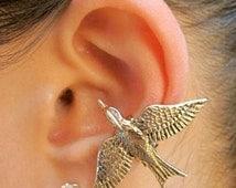 Bird Ear Cuff Bronze Mocking Jay Ear Cuff Mocking Jay Jewelry Bird Jewelry Bird Earrings Bird Ear Cuff Animal Jewelry Wing Earring Feather