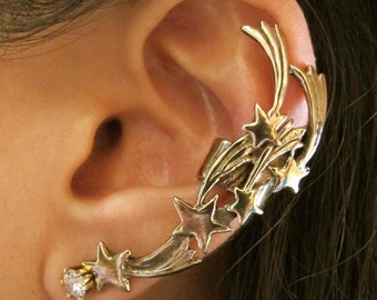Star Ear Cuff Bronze Shooting Star Ear Cuff - Comet Ear Cuff - Star Jewelry Shooting Star Jewelry - Star Earring - Non-Pierced Earring