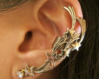 Star Ear Cuff Bronze Shooting Star Ear Cuff Comet Ear Cuff Star Jewelry Shooting Star Jewelry Star Earring Non-Pierced Earring Falling Star