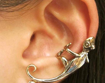 Ear Cuff Ear Wrap Lizard Earring Gecko Ear Cuff Bronze Lizard Jewelry Gecko Jewelry Non Pierced Earring Animal Jewelry Gecko Charm