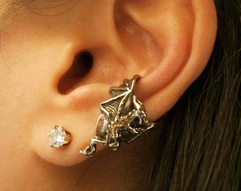 Dragon Ear Cuff Bronze - Dragon Ear Cuff Chevron - Dragon Earring Dragon Jewelry - Game of Thrones Inspired Jewelry  Non-Pierced Earring