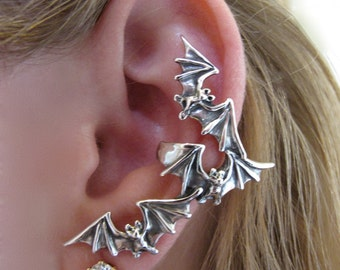 Bat Ear Cuff Silver Bat Flock Ear Cuff Bat Earring Bat Jewelry Silver Bat Non-Pierced Earring Gothic Jewelry Punk Jewelry Steampunk Jewelry