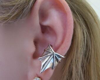 Ear Cuff Silver Wing Wing Ear Cuff Steampunk Ear Cuff Steampunk Jewelry Non Pierced Earring Non Pierced Ear Cuff Dragon Jewelry Wing Earring