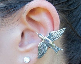 Bird Ear Cuff Silver Bird Earring Silver Mocking Jay Ear Cuff Mocking Jay Earring Bird Jewelry Non Pierced Earring Bird Cuff Animal Ear Cuff