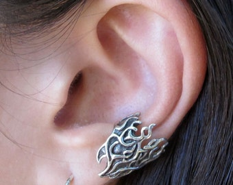Silver Ear Cuff Silver Flame Ear Cuff Silver Ear Clip Silver Ear Wrap Flame Jewelry Fire Jewelry Non Pierced Ear Cuff Non Pierced Earring