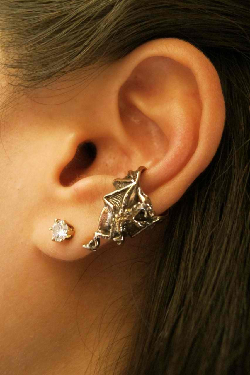 Dragon ear cuff bronze dragon ear cuff chevron dragon - Game of thrones dragon ear cuff ...